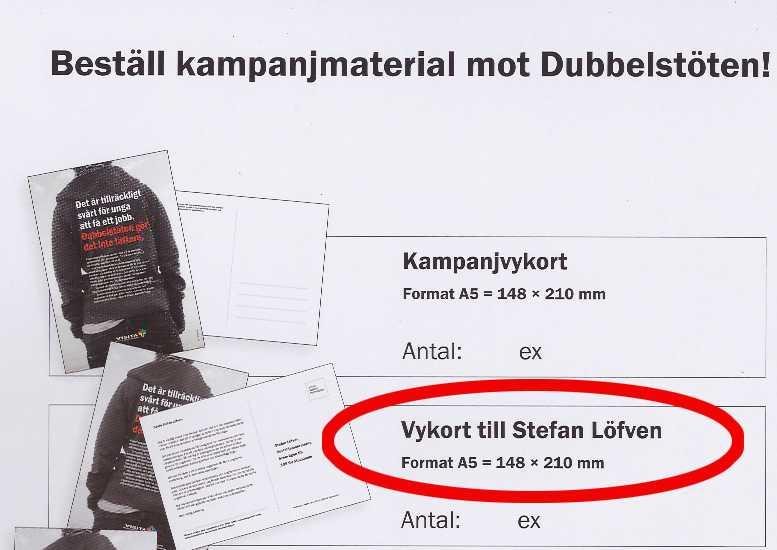 Den som är intresserad kan även beställa färdigt adresserade vykortoch skicka demtill Stefan Löfven.