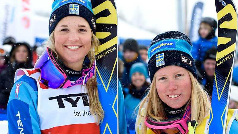 Anna Holmlund och Sandra Näslund under världscupen i Idre 2016.