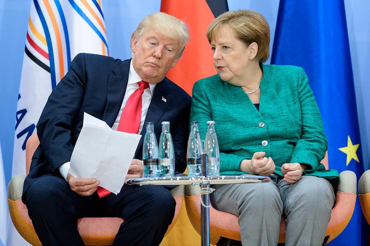 USA:s president Donald Trump och Angela Merkel vid G20-mötet i Hamburg.
