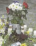 I Martin Halvardssons sko har någon ställt en vas med blommor.