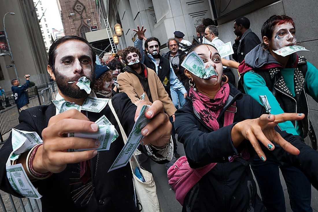 Zombie-protest på Wall street. Foto: AP