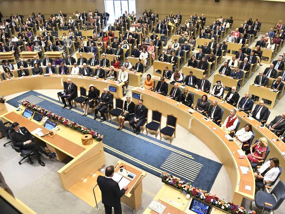 Statsminister Stefan Löfven läser upp regeringsförklaringen vid Riksmötets öppnande.