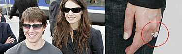 Katie Holmes fick en stor diamantring av Tom Cruise när han friade till henne på fredagsmorgonen i Paris.