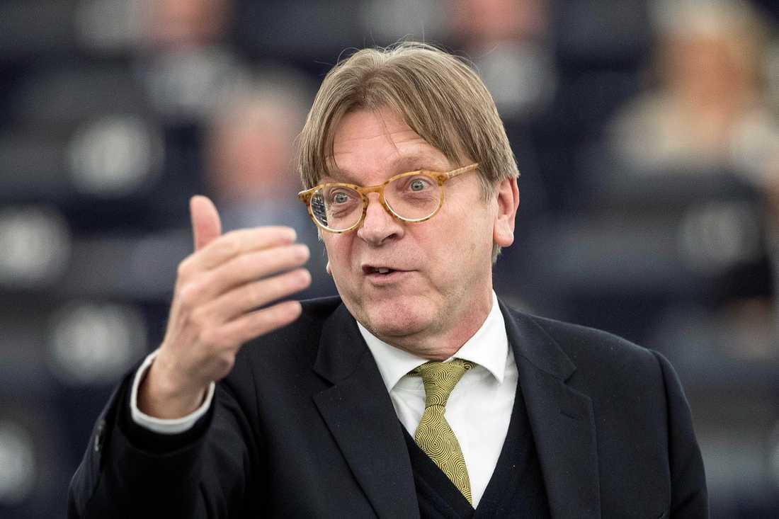 Belgaren Guy Verhofstadt leder EU-parlamentets styrgrupp för brexit och varnar för att parlamentet kan säga nej till Storbritanniens utträdelseavtal, om inte den omtvistade nödlösningen för Nordirland behålls. Arkivfoto.