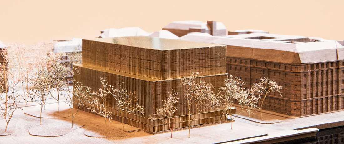 Arkitektmodell av det Nobel Center som Nobelstiftelsen vill bygga på Blasieholmen.
