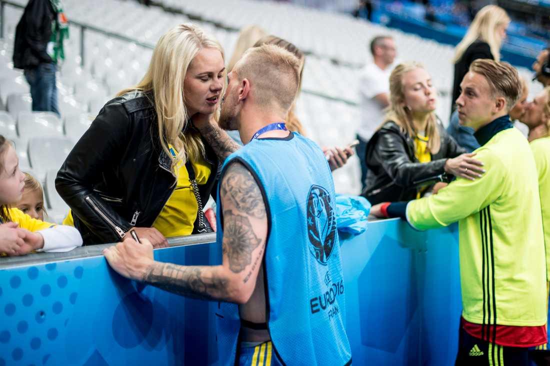 Sanna Dahlström och John Guidetti under EM 2016.