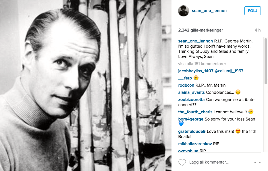 John Lennon Yoko Onos son Sean skrev ett inlägg på Instagram efter den nyheten.