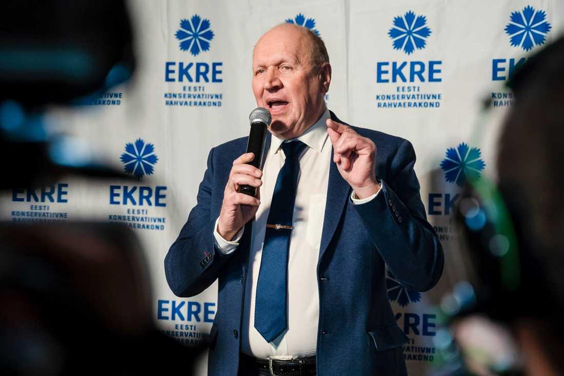 Mart Helme, ledare för det högerpopulistiska och nationalkonservativa estniska partiet Ekre. Arkivbild.