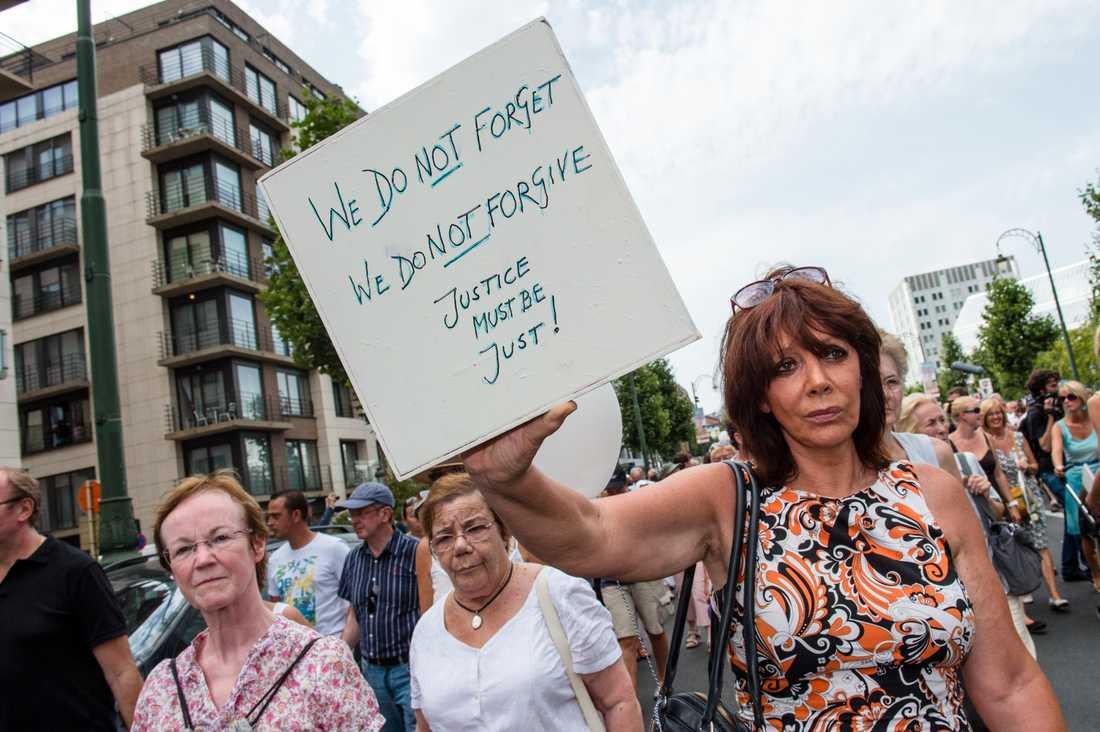 En manifestation till minne av offren för den belgiske mördaren Marc Dutroux. Bilden är från 2012. Arkivbild.