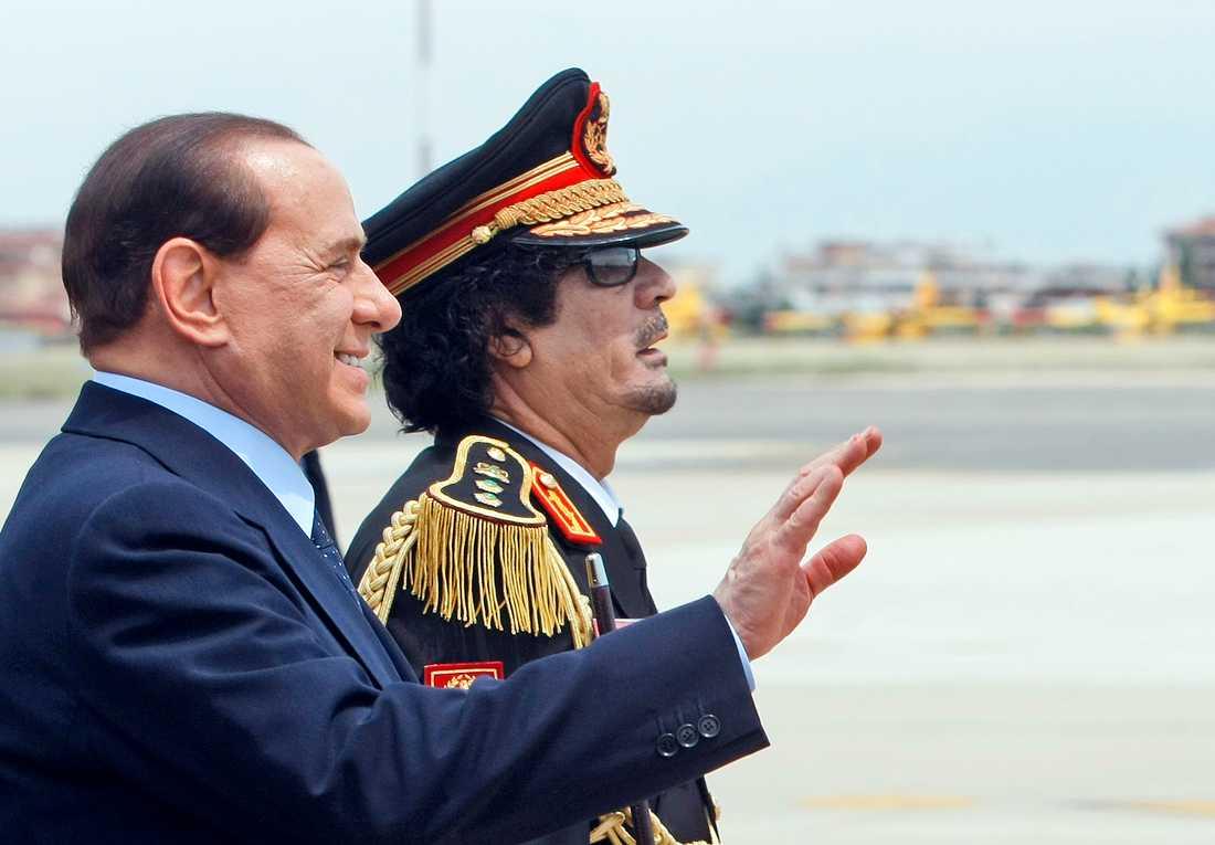 Med Libyens exdiktator Muammar Ghaddafi.