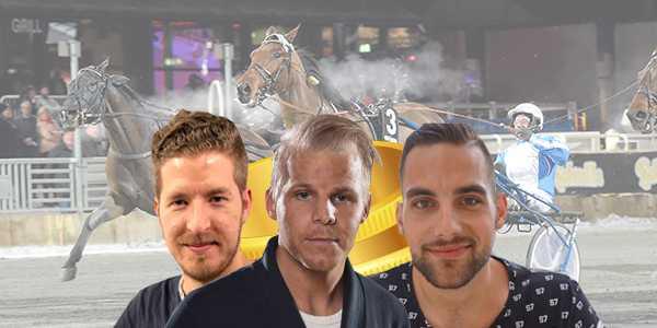 Sportbladets travprofiler Erik Pettersson, Christoffer Wickman och Mario Lipovac.