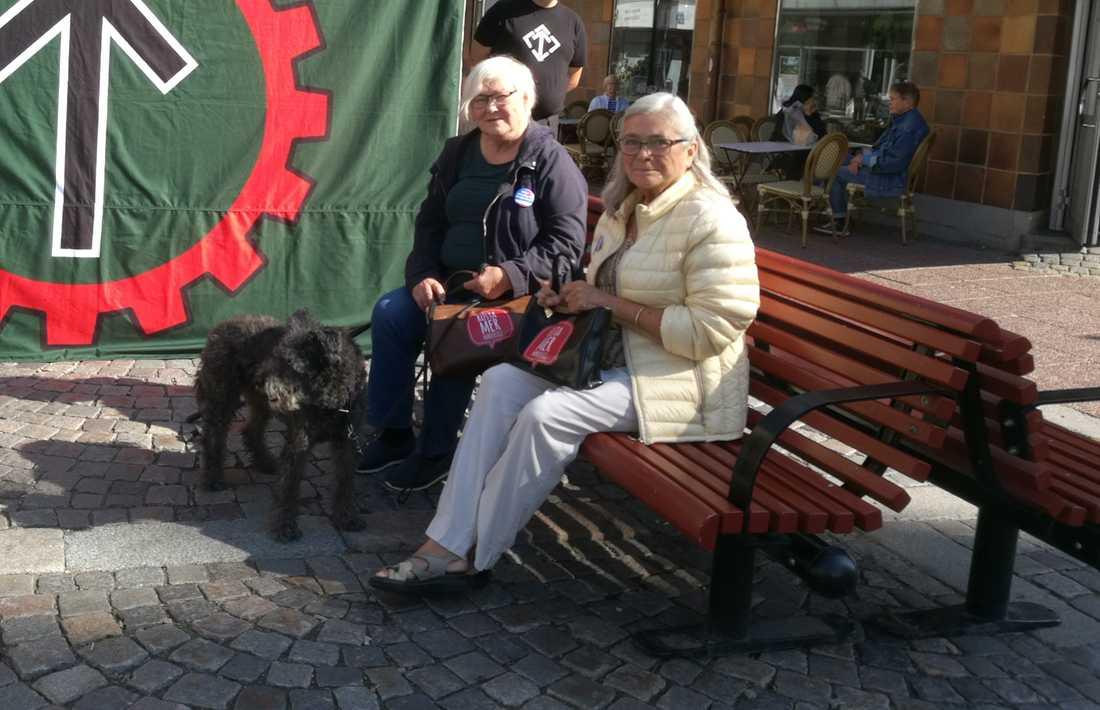 Katarina Nyberg och Gundi Almaas satt vid NMR:s tält. Katarinas hund Ibbe var med.