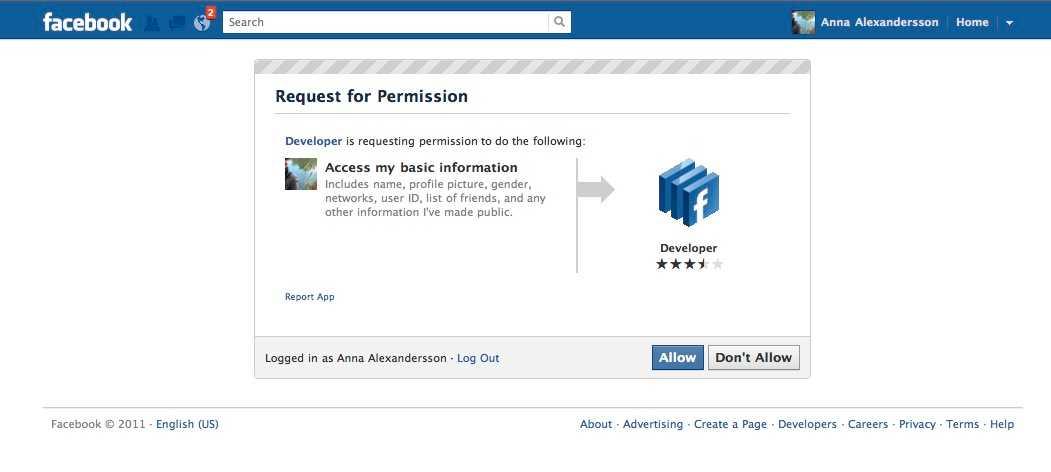"""1.  Logga in på Facebook och gå in på Facebook developer page (https://developers.facebook.com/apps) – som är del av ditt Facebook-konto. Första steget är att godkänna att Facebook developer får använda dina inställningar. Tryck """"Allow""""."""