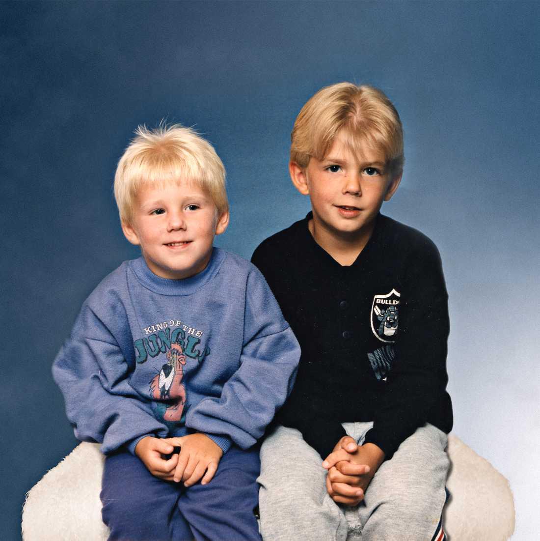 Robin, då 5 år, och Christian, 7.