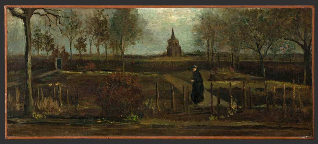 """Tavlan """"Parsonage Garden at Nuenen in Spring""""."""