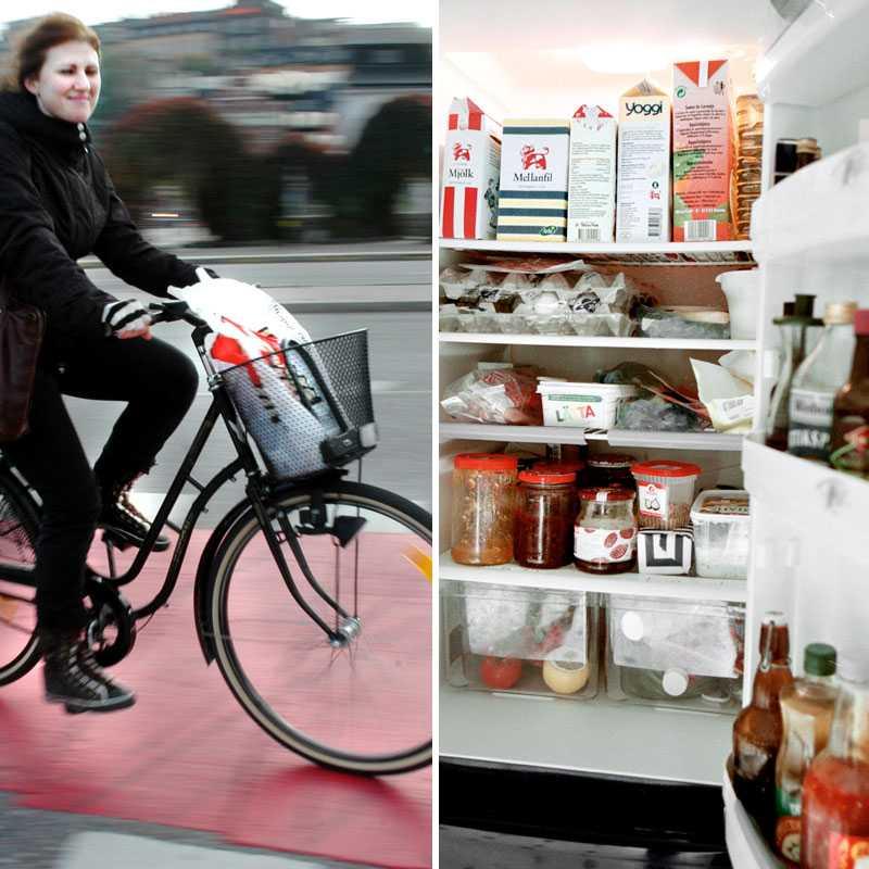 Cykla till jobbet och rensa i kylskåpet - två bra sätt att spara pengar på i vardagen.