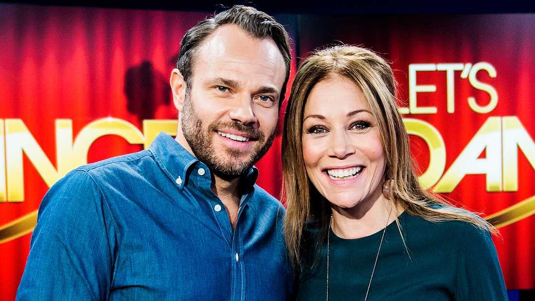 """David Hellenius och Tilde de Paula Eby, programledare för """"Let's dance""""."""