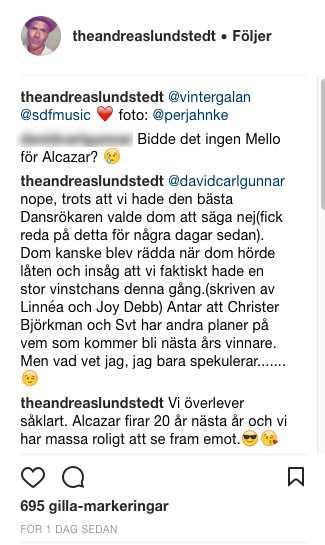 """Andreas Lundstedt skriver på Instagram: """"Antar att Christer Björkman och SVT har andra planer på vem som kommer bli nästa års vinnare."""""""