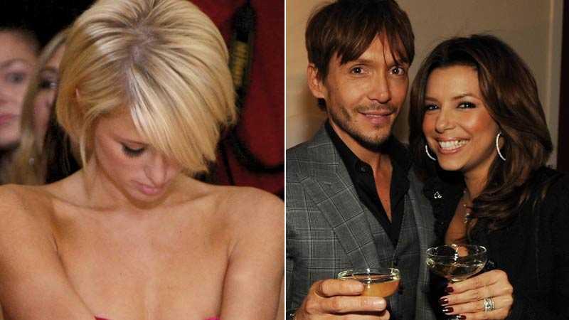 Ooops! Paris Hilton kontrollerar att allt är på sin rätta plats. Eva Longoria glömde en liten fläck under tandborstningen.