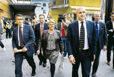 regeringen en måltavla Nazisterna tänkte slå till mot regeringen. Här syns Göran Hägglund, Jan Björklund, Maud Olofsson och Fredrik Reinfeldt.