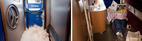 Höger: En passagerare fördriver tiden med en morgontidning på natttåget mellan Åre och Göteborg natten till lördagen. Tåget stod stilla utanför stationen i Herrjunga i 3-4 timmar på grund av snöovädret. Foto: Björn Larsson Rosvall / SCANPIX