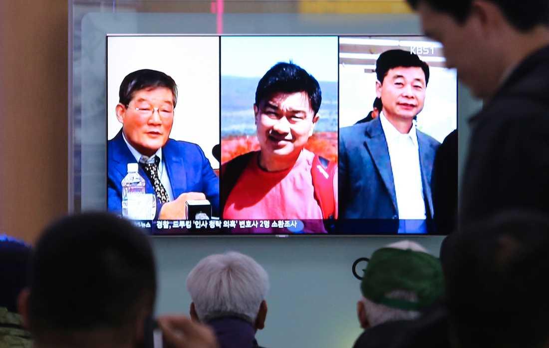 TV-bilder på de i Nordkorea fängslade amerikanerna. Kim Dong Chui längst till vänster, Tony Kim i mitten och Kim Hak Song till höger. Arkivbild.