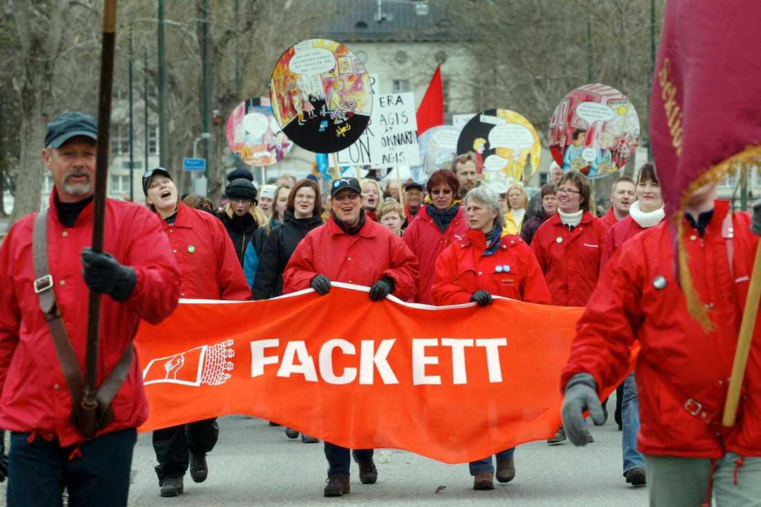 vill förändras Så här skulle banderollen kunna se ut om Kommunal bytte namn till ett av de hetaste förslagen: Fack Ett. OBS! Bilden är ett montage!