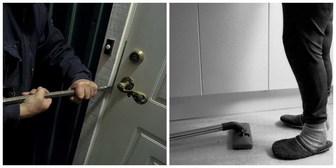 Personerna på bilderna har inte städat mannens lägenhet.