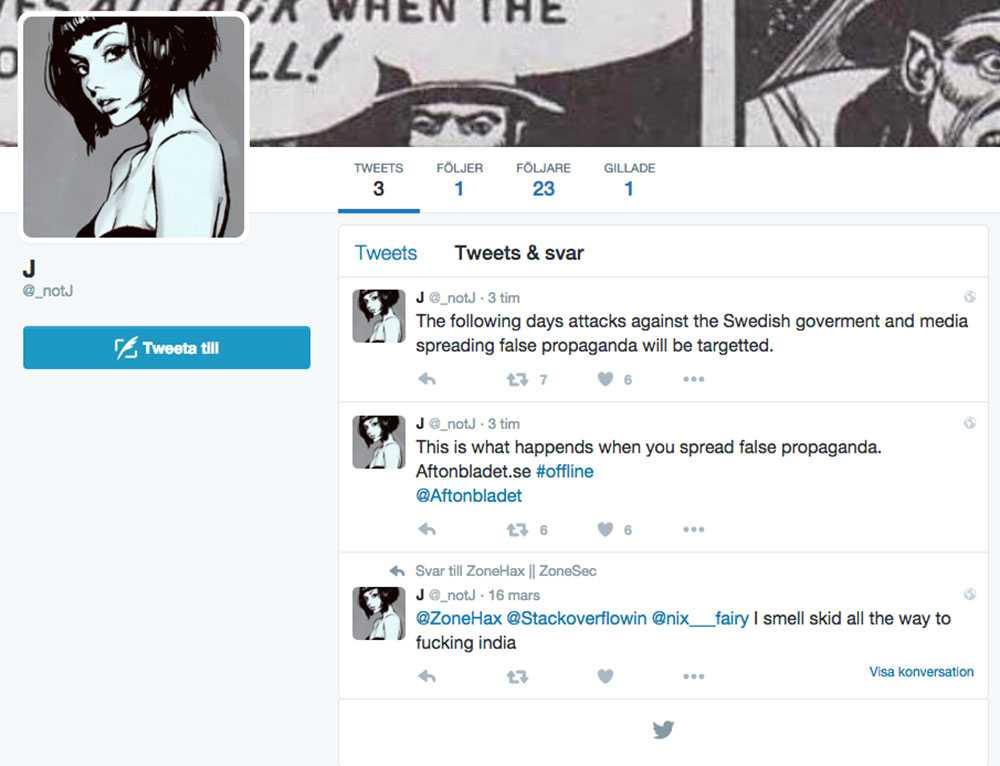 Ett Twitterkonto tog på lördagskvällen på sig attacken.