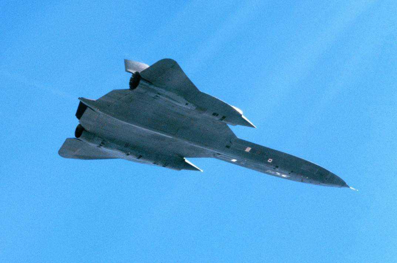 Det skadade amerikanska SR-71 Blackbird fotograferad av en av de svenska Viggenpiloterna den 29 juni 1987.
