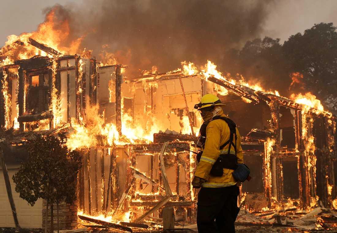 Brandmän försöker bekämpa bränderna som hittills beräknas ha förstört 1 500 byggnader.