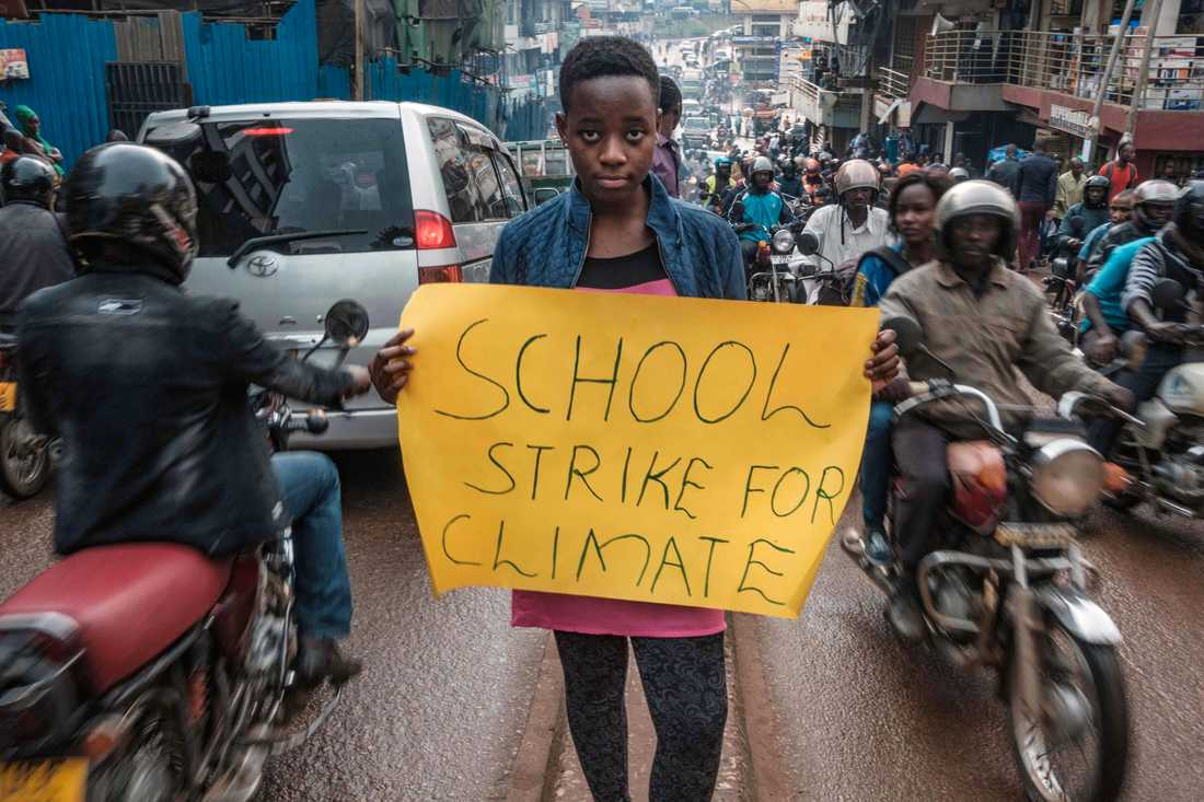 Leah Namugerwa, 15, är en ledande klimataktivist i Uganda.