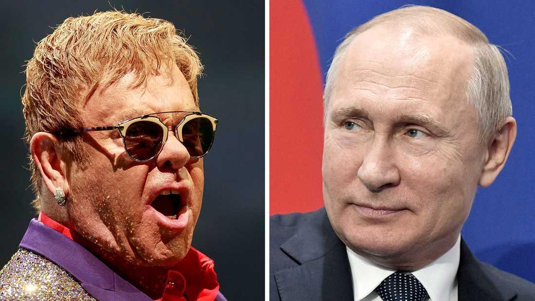 Elton John och Vladimir Putin.