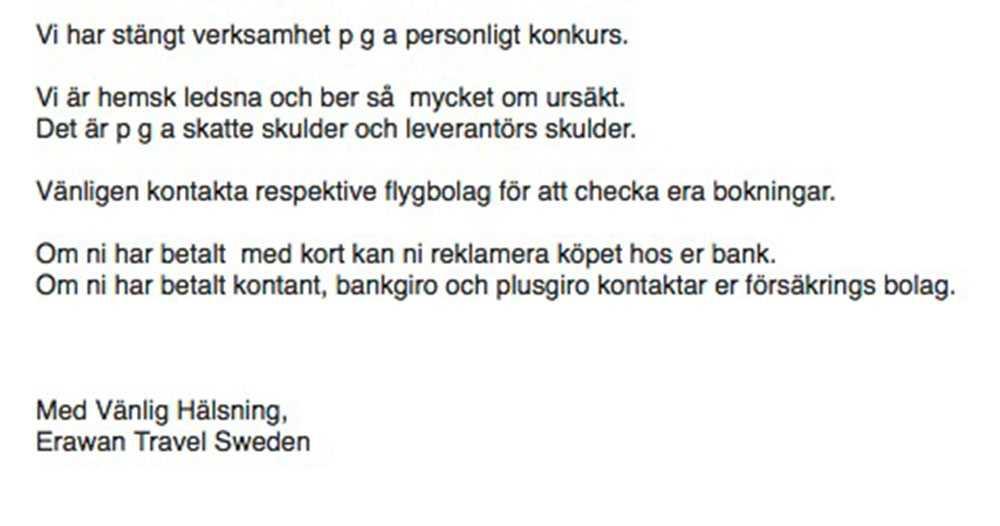 Meddelande till kunderna.