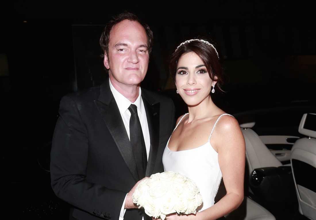 Quentin Tarantino och Daniella Pick innan vigseln.