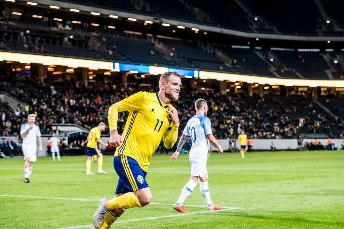 John Guidetti gjorde sitt fösta landslagsmål på två år  när Sverige mötte Slovakien. Matchen slutade 1–1.