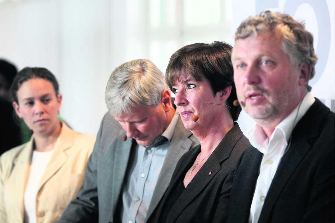(MP), Lars Ohly (V), Mona Sahlin (S) och Peter Eriksson (MP) ska vara ett |team.