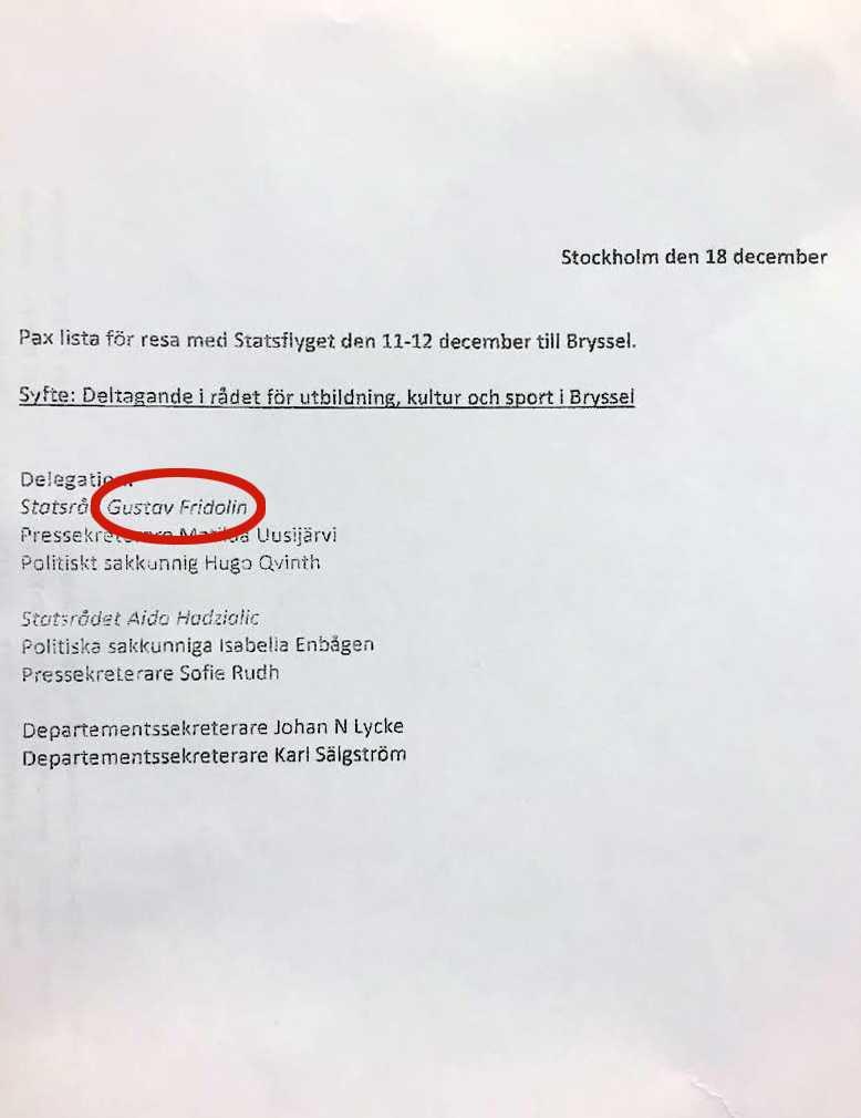 Dokumentet som visar att Gustav Fridolin (MP) var en av personerna som hämtades upp.