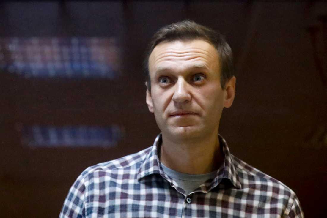 Aleksej Navalnyj. Bilden togs i samband med rättegången mot honom i slutet av februari.
