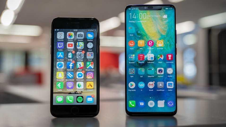 Steg för steg: så byter du från iOS till Android. På bilden Iphone 7 och Huawei Mate 20 Pro.
