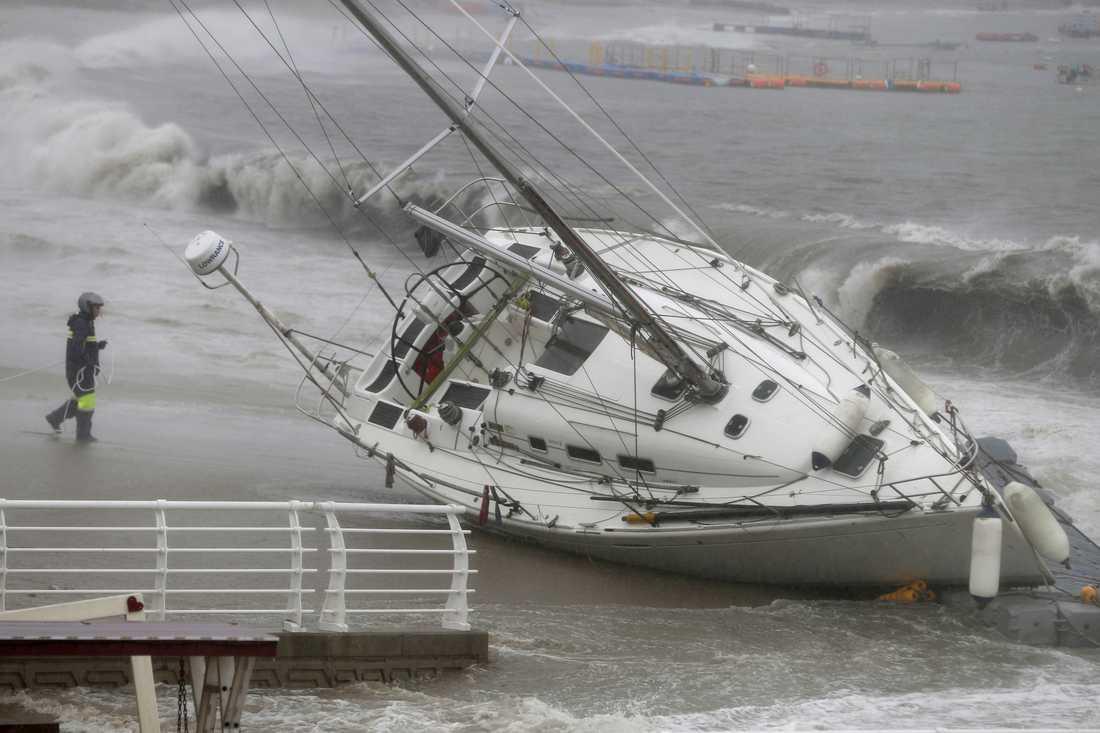 På bilden en båt som sköljdes upp på land i Sydkorea i samband med tyfonen Tapah i slutet av september.