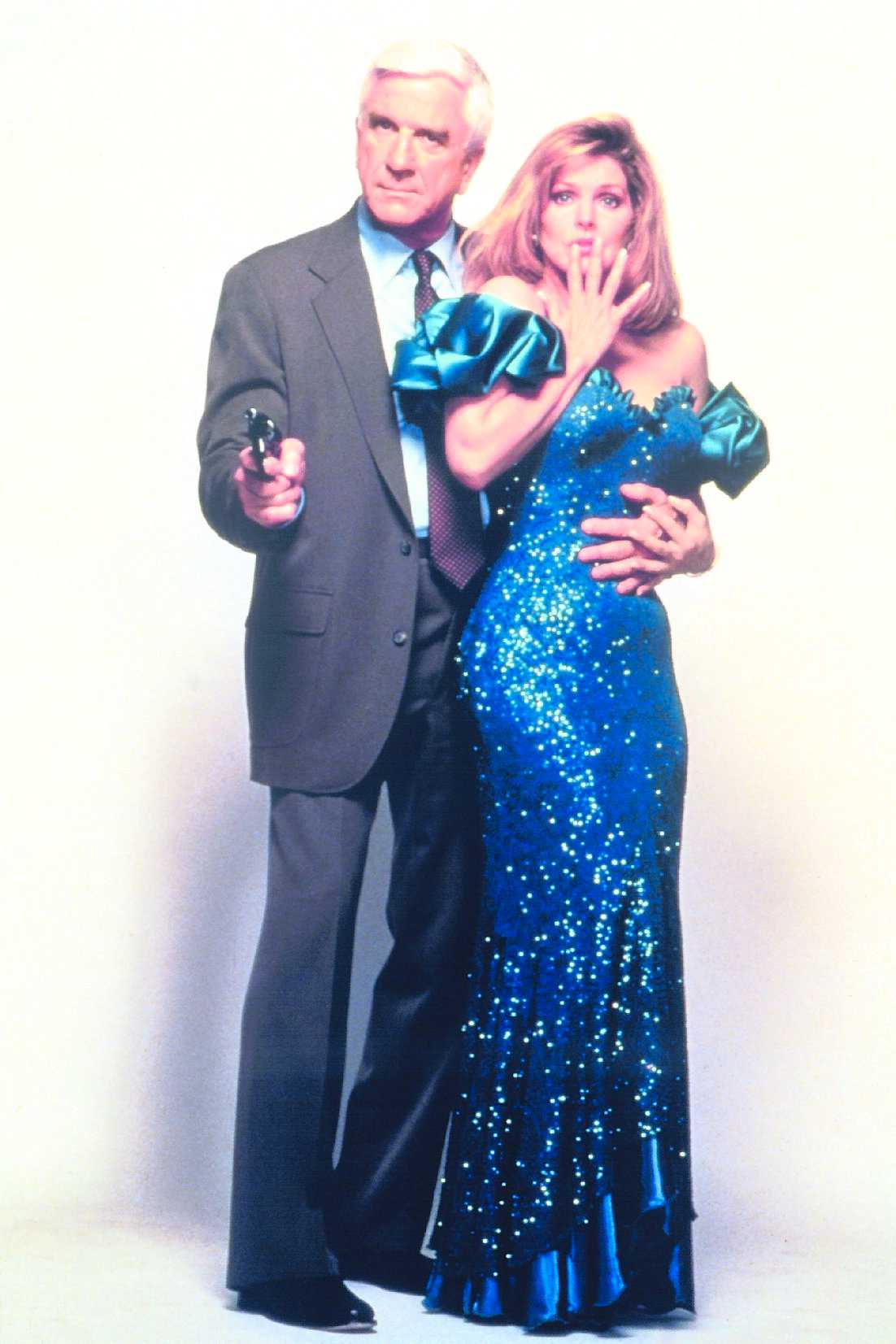 """Med Priscilla Presley i """"Nakna pistolen 2 1/2"""" 1991."""