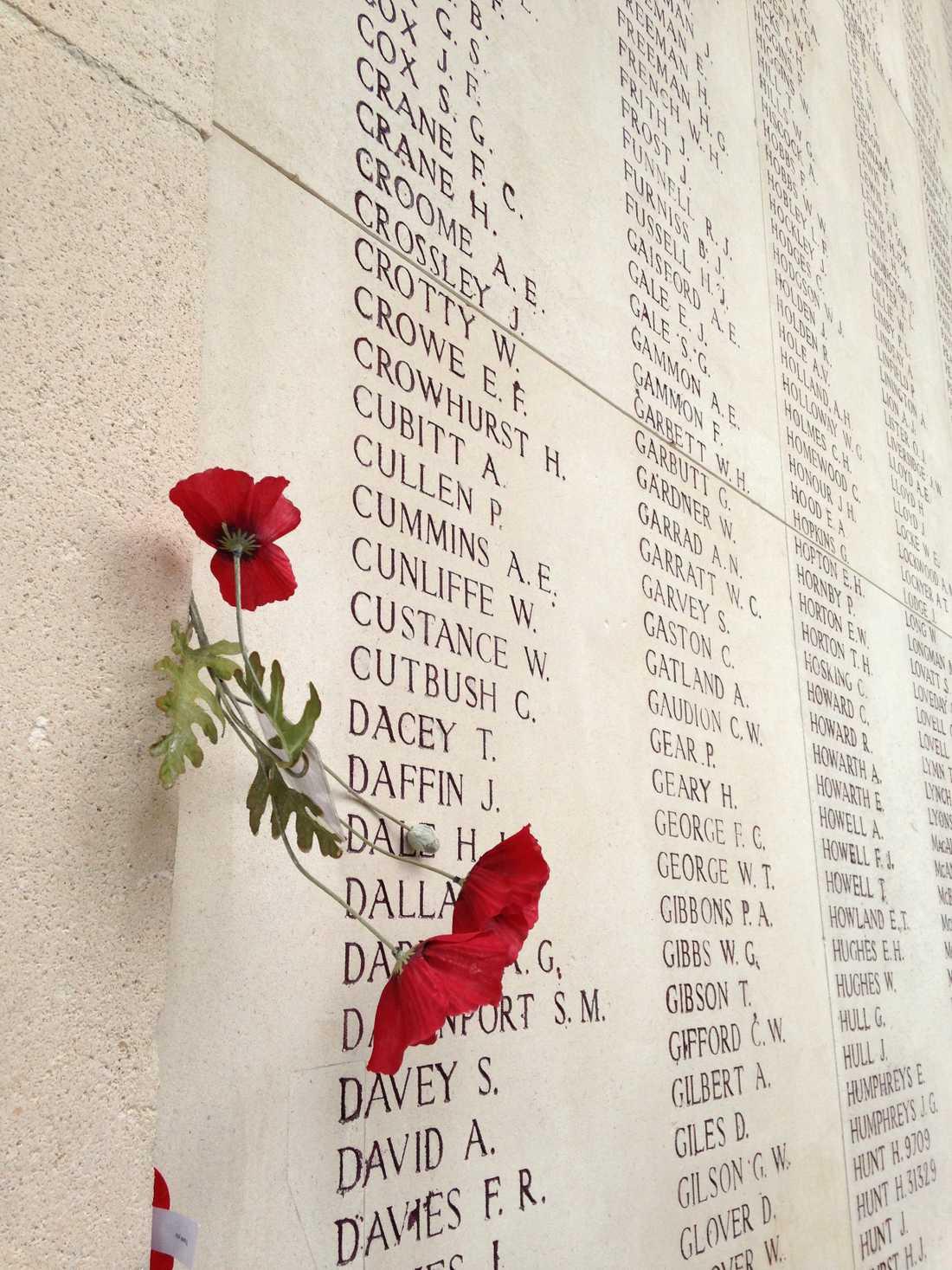 Vallmon har blivit en symbolisk blomma för helvetet på västfronten, sedan de forna skyttegravarna efter krigets slut täcktes av blommande röda blommor. Sedan dess hedras de döda ofta med både äkta och konstgjord vallmo, som exempelvis på monumentet vid Menin-porten i Ypern i västra Belgien.