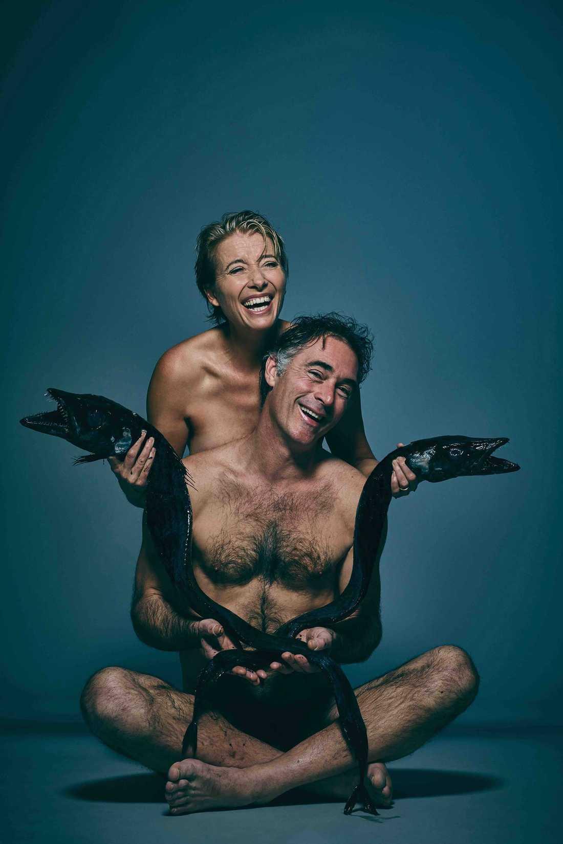 Emma Thomspon och Greg Wise med en dolkfisk