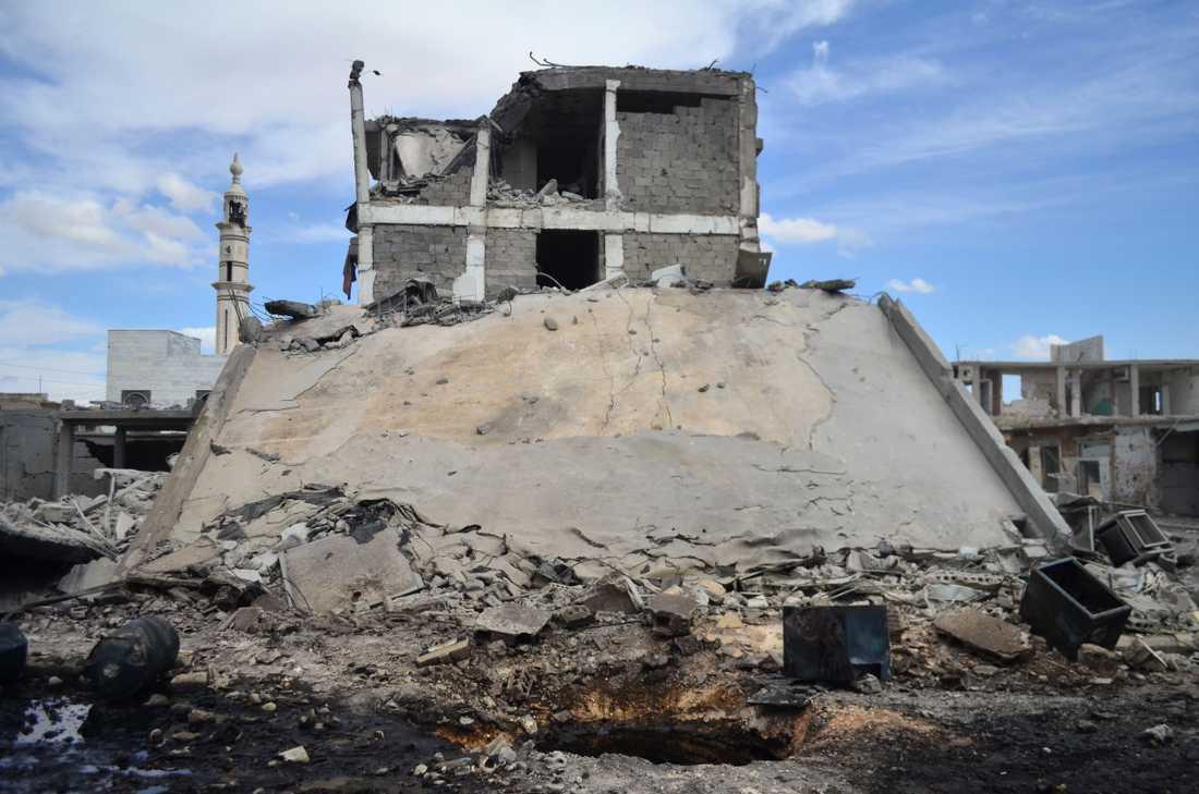 Förstörda byggnader i staden Talbisseh i Homs.