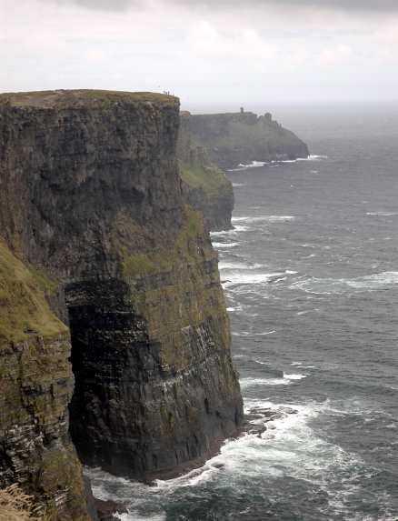 Cliffs of Moher stupar 250 meter lodrätt rakt ned i havet.