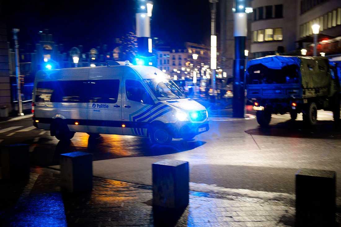 Aftonbladets Urban Andersson blev vittne till ett stort polispådrag i Bryssel på fredagskvällen.