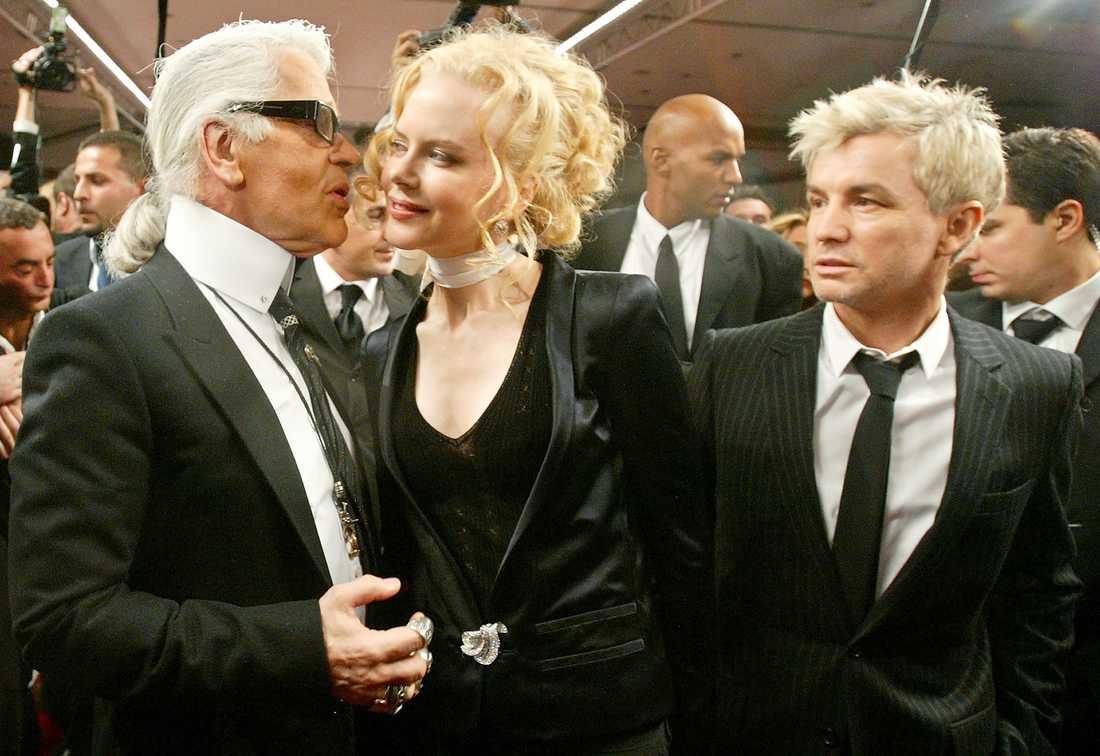 Karl Lagerfeld med skådespelaren Nicole Kidman och filmregissören Baz Luhrman 2005.