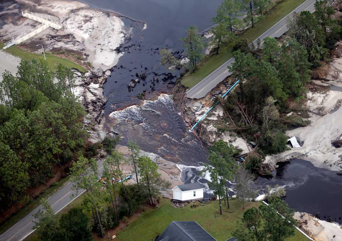 Översvämningar efter orkanen Florence i North Carolina.