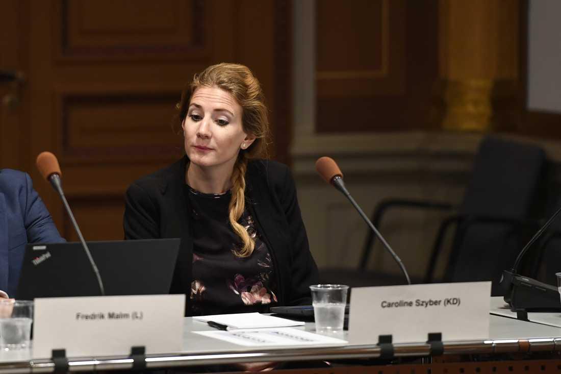 Kristdemokraternas Caroline Szyber vid EU-nämndens möte i onsdags. Arkivbild.